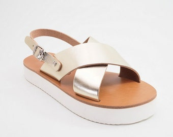 Handmade greek leather sandals (39 - Silver)