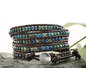 Boho style Five Wraps lapis Phoenix Bracelet With Brown Leather