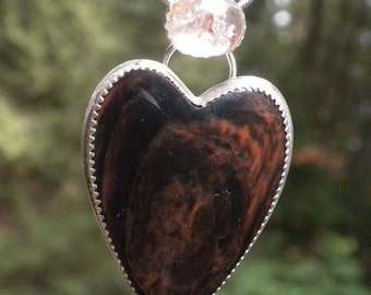 Valentines Sale Mahogany Sheen Obsidian with Sunstone - Behind my Wooden Heart...
