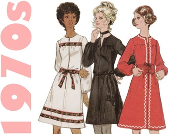 70s Dress Pattern Butterick 5981 sz 12 b 34 UNCUT A-line Dress Vintage Dress Front Zipper Dress Retro Dress Long Sleeve Dress 1970s Pattern