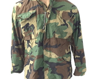Men's Vintage Camo Military Army Coat (Medium, Med Short)