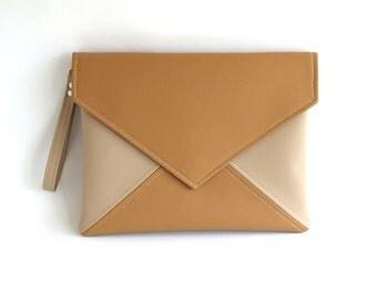 Clutch envelope, Light Brown Beige Clutch Purse, Bridesmaid Clutch,Vegan leather Clutch Bag, Wedding Clutch, Vegan Handbag, Evening Bag
