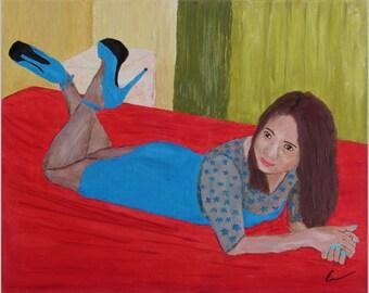 """SENORITA en AZUL, 20x16"""" oil painting"""