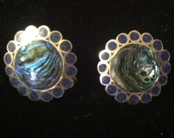 Antique Sterling Silver Taxco Button Earrings