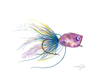 Purple Fishing Lure Watercolor Painting