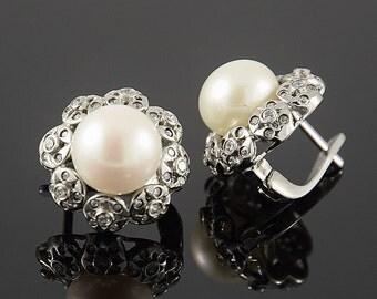 Pearl earrings, Silver earrings, Pearl silver earrings, Unique earrings, Victorian earrings, Art deco earrings, 925 silver earrings