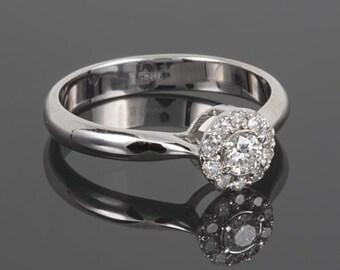 White gold engagement ring, Halo engagement ring, White gold ring, White engagement ring, 14k engagement ring, Women engagement ring