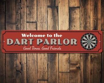 Dart Parlor Welcome Sign, Custom Good Times Good Friends Gift, Metal Dart Board Game Room Man Cave Dorm Decor - Quality Aluminum ENS1002390