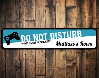 Video Game Sign, Personalized Kid's Room Sign, Do Not Disturb Sign, Metal Gamer Sign, Custom Kid Bedroom Decor - Quality Aluminum ENS1001032