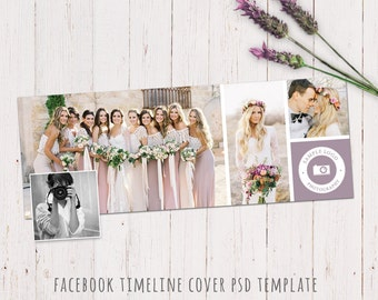 Facebook timeline cover template. Photography template. Wedding design cover for your facebook timeline. Fully editable PHOTOSHOP PSD file.