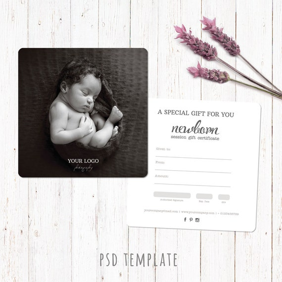 Gift certificate template. Newborn session photography gift