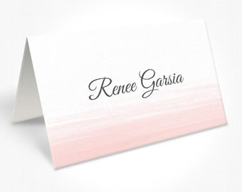 Pink and Grey Watercolour Wash Wedding Place Cards, Traditional Script Font, Free Colour Changes, DEPOSIT | Peach Perfect Australia