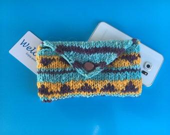Alpaca hand knit clutch, hand spun, hand dyed yarn, organic fabric liner