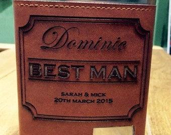 Personalised hip flask. Personalised best man gift. Rustic