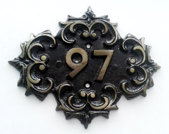 Medieval style cast iron  door number 97, vintage soviet made ninety-seven room