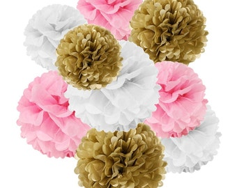 18 Gold, Pink & White Tissue Paper Pom Poms Party Set / Hanging Decorations (set of 18)