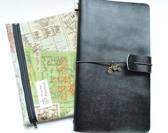 Classic black fauxdori - Midori style traveler's notebook kit