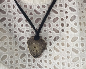 """Couldn't Pick a Better Dad Antique Distressed Brass Guitar Pick Hand Stamped Necklace Natural Black Leather Cord Adjustable 21"""" See Options"""