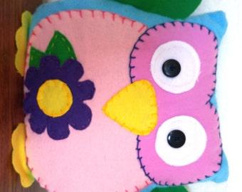 Flower Owl Plushie: Blue, Pink & Green