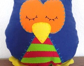 Striped Owl Plushie: Blue, Orange, Green & Red