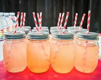 Pewter Daisy Cut Mason Jar Lids for Straws-- You Choose Quantity!