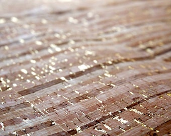 Striped cork fabric with gold details in pieces in 3 dimensions (C7), cork, Eco Friendly Craft Materials
