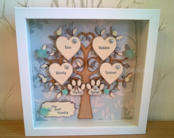 FAMILY TREE FRAME - Handmade Personalised Box Frame. Can be made with any colour backing, tree and hearts, to match your decor.