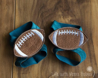 Barefoot Baby Sandal Football Patches, Interchangeable Football Baby Barefoot Sandal, Teal Interchangeble Barefoot Baby Sandal, Baby Gift