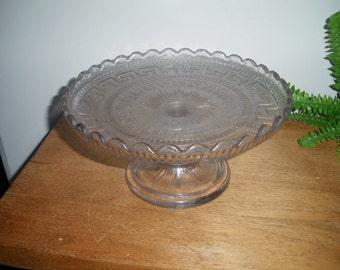 Vintage glass cake stand, pedestal cake plate, glass pedestal cake stand, pressed glass, tazza, fruit platter, tea table centerpiece