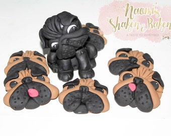 6x Edible Pug Dog Faces 1x 3D Pug Dog 8-10cm Fondant Cake Cupcake Toppers