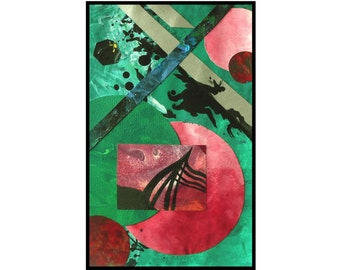 Original Abstract Art Red Green Collage Modern Painting- Uncharted by Caerys Walsh