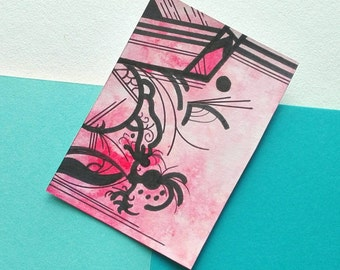 Abstract ACEO original art card minimalist drawing black red pink and white - Fortunate by Caerys Walsh