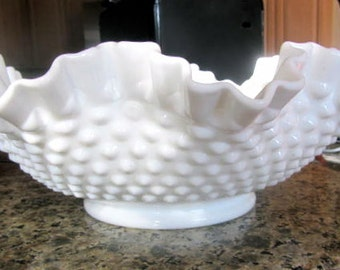 Fenton hobnail milk glass bowl large ruffled edges vintage