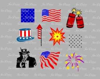 July 4th Independence Day Flag Fireworks Uncle Sam patriotic Collection SVG cuttings files~instant download~
