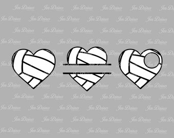 Volleyball heart SVG DXF EPS, split volleyball svg, volleyball file, volleyball monogram, files for Cricut, Sihouette files, svg files