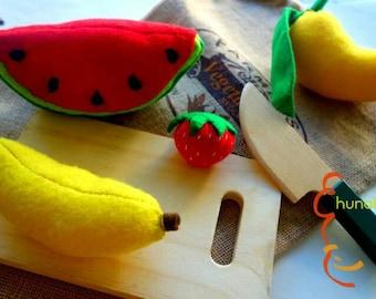 Fruits felt play food set for pretend play, watermelon, banana, mango, strawberry, toy kitchen