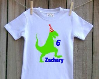 custom personalized boys birthday shirt dinosaur t rex vinyl