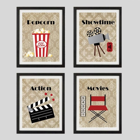 Home Theater Decor Metal Wall Art ~ Movie prints home theater decor wall art showtime by