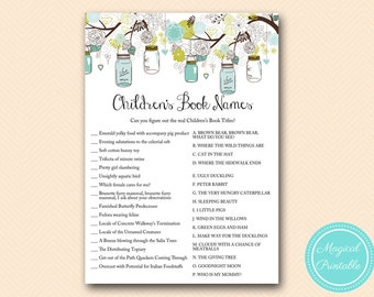 Children's book name game, Rustic Mason Jars Baby Shower, Baby Shower Games & Activities, Instant Download Games Printable TLC146