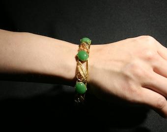 Vintage Gold Tone Green Cabochon Jade Stone Cuff Bracelet Costume Jewelry