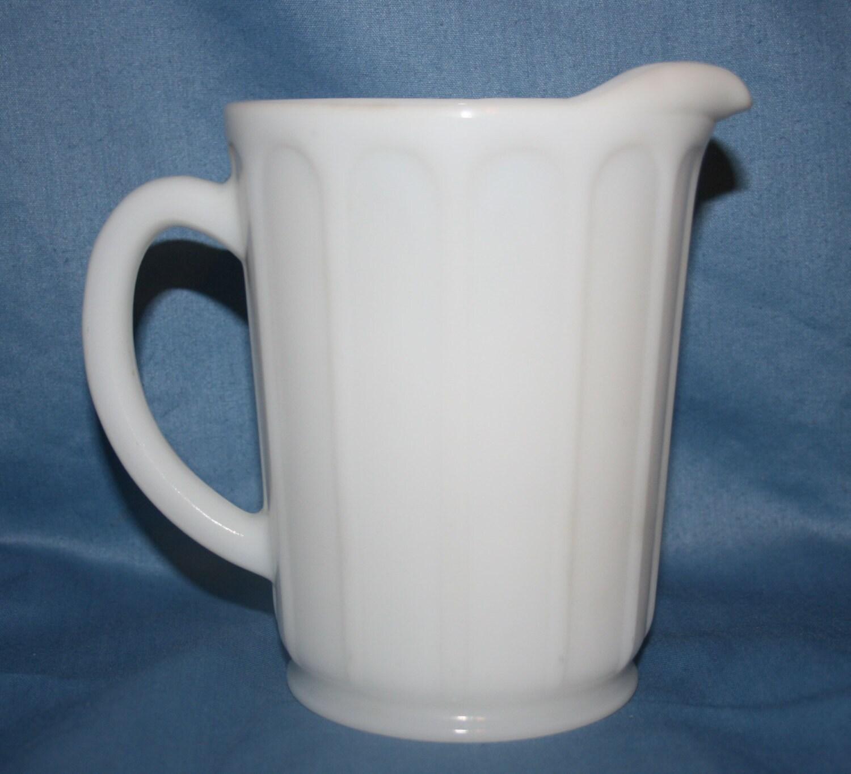 Vintage Hazel Atlas Milk Glass Syrup Pitcher Juice Creamer