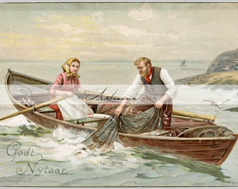 Printable Art Instant Download - Couple in Row Boat Fishing Hauling Net - Paper Crafts Scrapbooking Altered Art - Vintage New Years Postcard