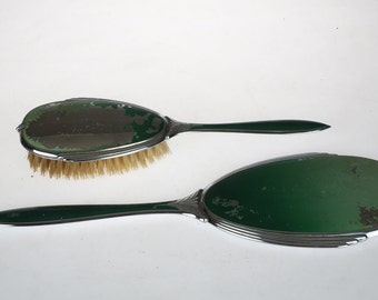 Vanity Set Evans Case Company - Brush and Mirror - Antique - Art Deco Hollywood Regency - Green and Silver