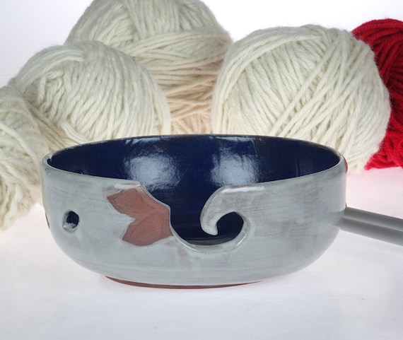 Knitting Bowl Canada : Large knitting bowl handmade pottery grey and blue