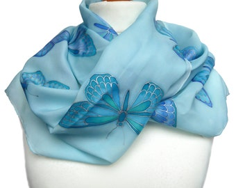 Hand painted, blue turquoise silk butterflies scarf