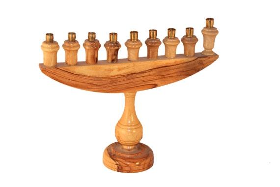 Olive Wood Hanukkah Menorah With Hand Painted By