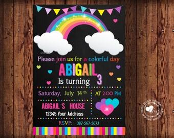 Rainbow invitation, rainbow birthday invitation, rainbow party invitation. Digital Product