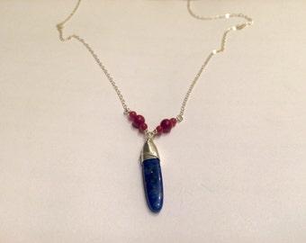 Long lapis + coral necklace