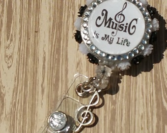 Music is life badge reel / id holder