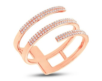 Ladys 0.30CT 14K Rose Gold Pave Diamond Spiral Fashion Statement Ring Natural